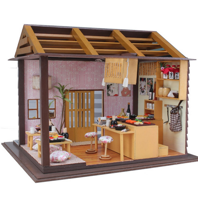 Brand New Hoomeda DIY Wood Dollhouse Miniature Doll Toys With LED Furniture  Cover Sushi Bar Japanese