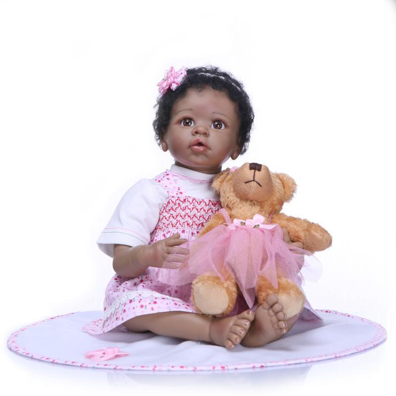 22 inch Black Cute Newborn Baby Doll Girl Silicone Full Body Waterproof