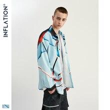 Inflation streetwear camisa masculina de manga comprida streetwear camisas soltas 2020 outono nova impressão digital camisas masculinas 92150 w