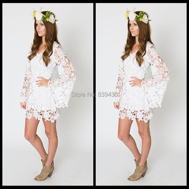 Lace Mini Bell Long Sleeve Bohemian Wedding Dress Destination Casual