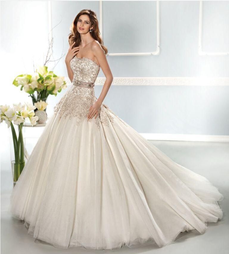 Popular gold ivory wedding dresses buy cheap gold ivory for Gold beaded wedding dress
