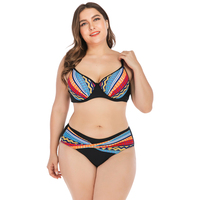 Plus size Woman Bikini Two Pieces 2019 Bikini Set Push up Padded Bra Bathing Monokini Bath Suit Beach Wear Women's Swimming sui
