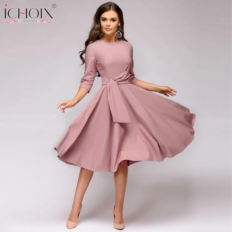 7e46f42fc2 ICHOIX ropa de mujer 2019 moda Otoño Invierno vestido sexy vestido ...