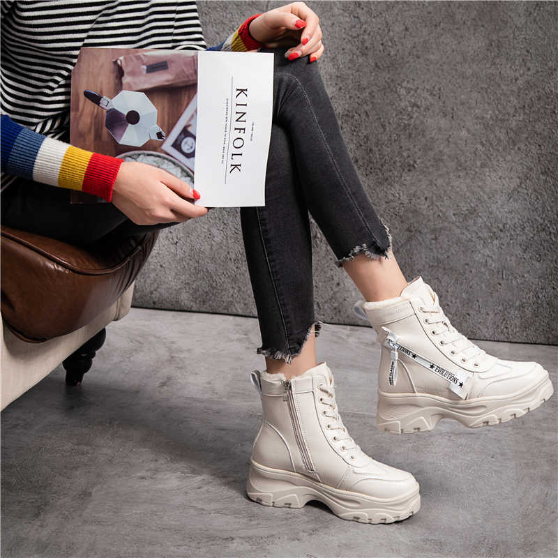 c802b214d65 RASMEUP Leather Women's Chunky Boots Winter Thick Fur Warm Women Platform  Sneakers 2018 Fashion Combat Boots Woman Martin Shoes