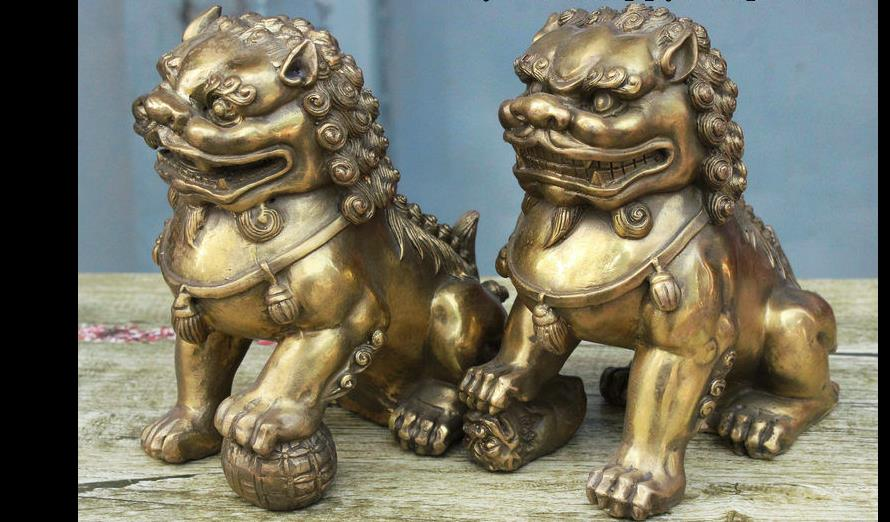 62833*<<+++Classic China FengShui Brass Fu Foo Dog Lion Guarding Door Statue Figurine Pair62833*<<+++Classic China FengShui Brass Fu Foo Dog Lion Guarding Door Statue Figurine Pair