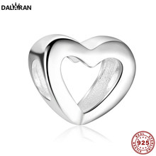 DALARAN Fits Original 925 Sterling Silver Hollow Heart Beads Charms For DIY Bracelets & Bangles Fine Women Jewelry Making(China)