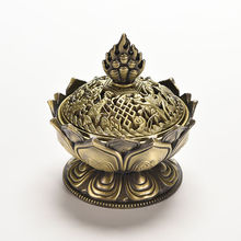 3 Colors 7 cm Height Tibetan Lotus Incense Burner Alloy Bronze Mini Incense Burner Metal Craft Home Decor 1PCS