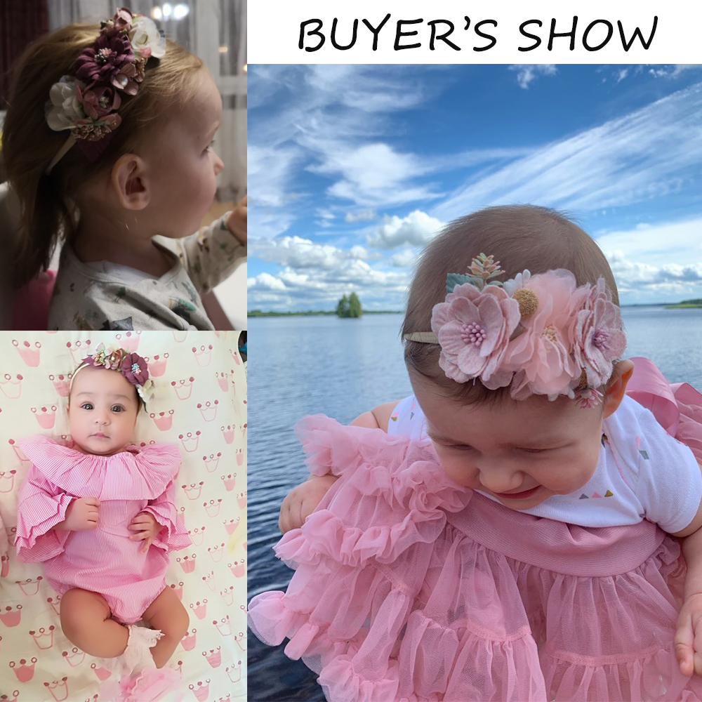 IBOWS Hair Accessories Lovely Baby Headband Fake Flower Nylon Hair Bands For Kids Artificial Floral Elastic Head Bands Headwear 3