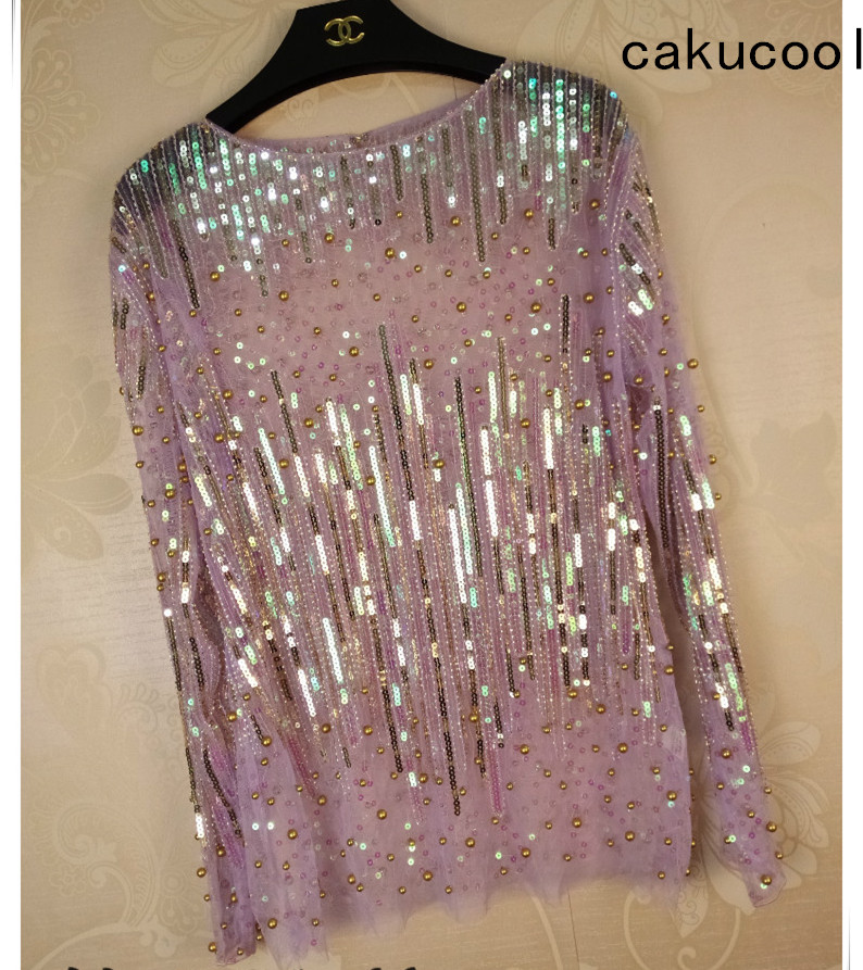 Cakucool Women Sequined Blouse Tops See-through Sexy O-neck Mesh Blusas Shirt Long Sleeve Loose Chiffon Bead Blouses Shirts Lady