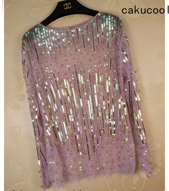 Cakucool Women Sequined Blouse Tops See-through Sexy O-neck Mesh Blusas  Shirt Long Sleeve Loose Chiffon Bead Blouses Shirts Lady 5cb1a98a4e2f