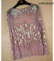 Cakucool Women Sequined <font><b>Blouse</b></font> Tops See-through Sexy O-neck Mesh Blusas <font><b>Shirt</b></font> Long Sleeve Loose Chiffon Bead <font><b>Blouses</b></font> <font><b>Shirts</b></font> Lady