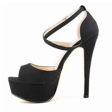 LOSLANDIFEN Fashion Rome Style Women Pumps Sexy Platform Peep Toe High Heels Shoes Lady Buckle Straps Office Sandals817-8Suede