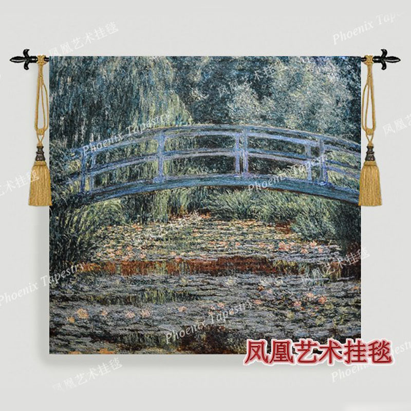 Hot Monet Water lilies and bridges tapestry 133 139cm Woven wall hanging decoration home textile products