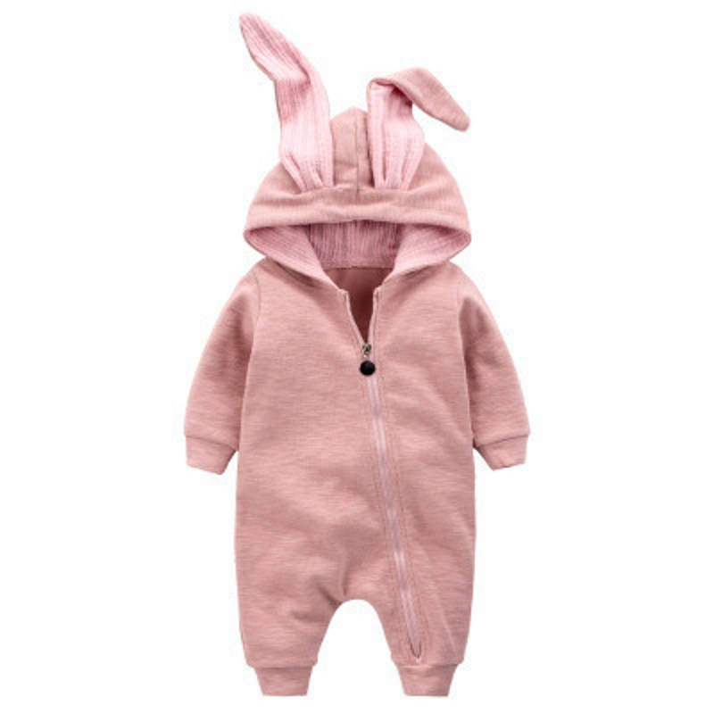 Autumn Baby Fashion Cute Warm Rompers Cute Rabbit Ears Design Baby Bunny Hooded Romper Newborn Boys and Girls One-pieces Suits fashion toddler girls baby american flag pattern cute rabbit ears headband