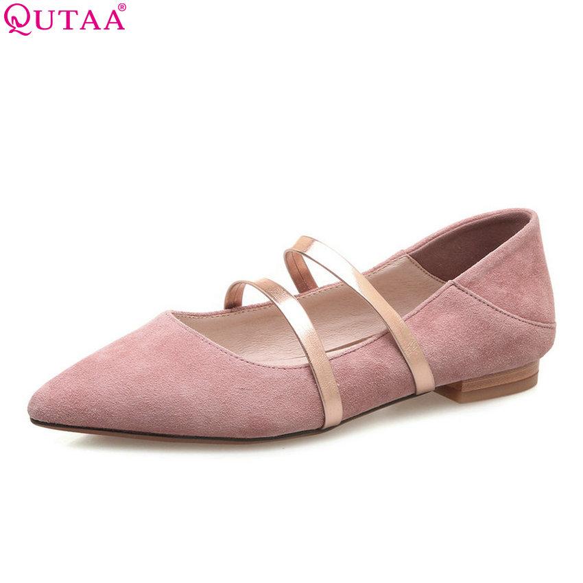 QUTAA 2018 New Women Pumps Pointed Toe Casual Kid Suede Slip on Women Shoes Square Heel Fashion Ladies Pumps Szie 34-39 hot sale 2016 new fashion spring women flats black shoes ladies pointed toe slip on flat women s shoes size 33 43