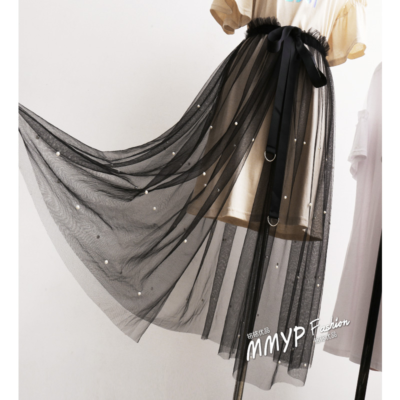 Women Summer Sexy Lace High Waist Skirt Long For Women Korean Vintage Tulle Mesh Transparent Lace Up Beading Skirt D155