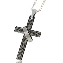 Silver color cross Bible pendant necklaces gold color Stainless Steel bead chain necklace for men women jewelry wholesale(China)
