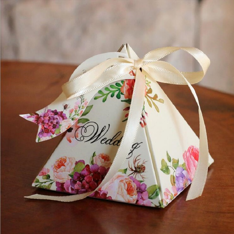 Gift Boxes For Weddings: Wedding Decorations Candy Box Floral Candy Box With Ribbon