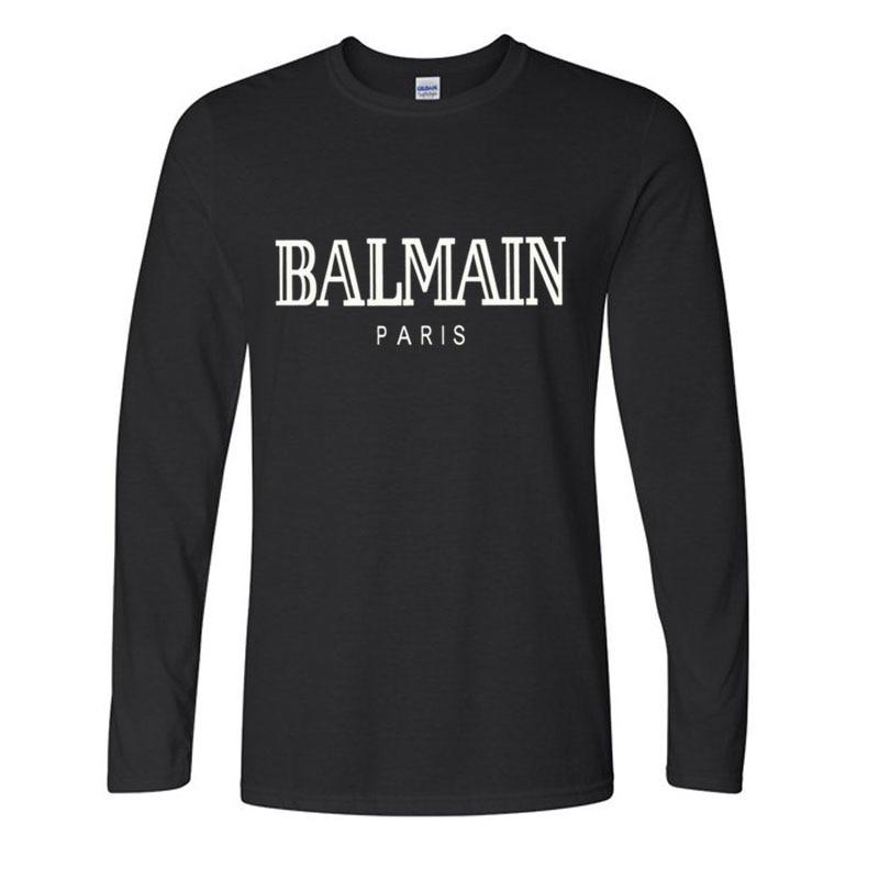 New   T     Shirt   Balmain Paris Men Fashion   T  -  Shirt   Cotton Long Sleeve   Shirts   for Men Casual Funny   T     Shirts   Tops Tee Loose Size