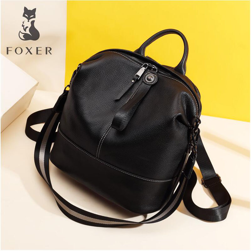 FOXER backpack female 2019 new fashion top layer leather wild single shoulder large capacity casual ladies backpack