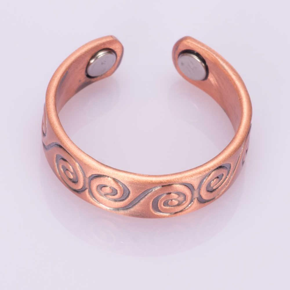 Vinterly магнитное чистое медное кольцо для мужчин палец винтажная Регулируемая открытая манжета кольца для мужчин и женщин боль при артрите рельефные ювелирные украшения