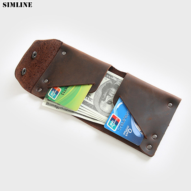 100% Genuine Leather Wallet For Men Short Vintage Handmade Crazy Horse Leather Short Wallets Small Male Purse With Card Holder