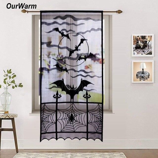 OurWarm Halloween Decoration Lace Curtain Door Panel Halloween Black Window Panel Decoration Spiderweb Pattern Panel 101x213cm