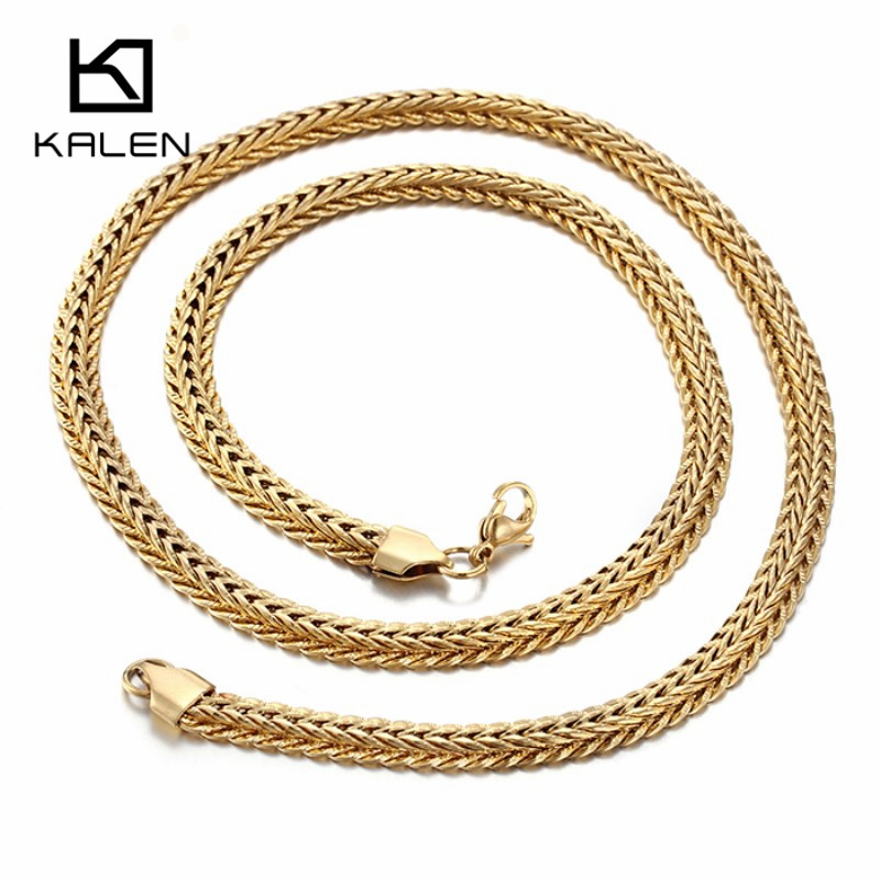 Kalen Men's Gold Chain Necklace 60cm Long Necklace For Men Gold Color High Quality Stainless Steel Horsewhip Necklaces Collier