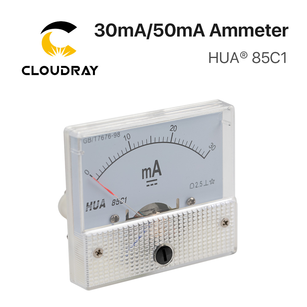 Cloudray 30mA 50mA Ammeter HUA 85C1 DC 0-30mA 0-50mA Analog Amp Panel Meter Current For CO2 Laser Engraving Cutting Machine