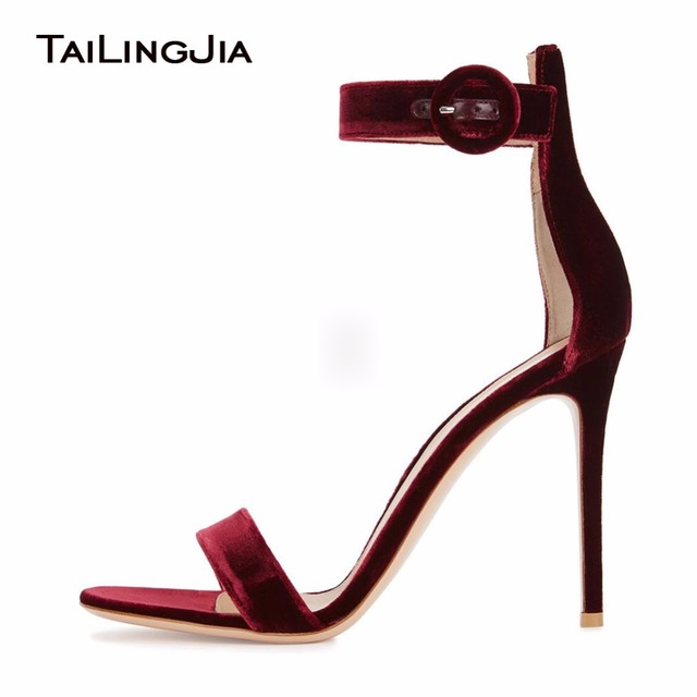 2019 Beauty Wine Red Velvet Open Toe Woman Summer Sandals High Heel Ladies Party Dress Shoes With Buckle Women Simple Stilettos