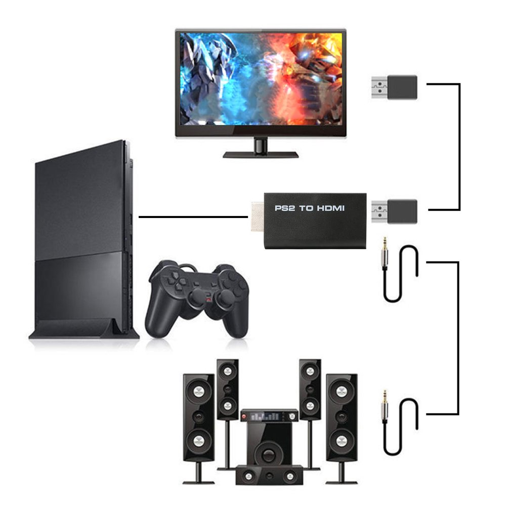 Black PS2 to HDMI Audio Video AV Adapter Converte with 3.5mm Audio Output Supports All PS2 Display Modes High Quality