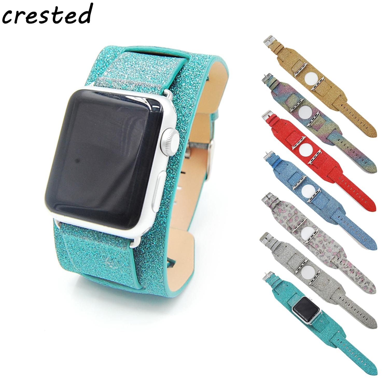 CRESTED leather loop watch strap for apple watch band 42mm/38 Cuff Bracelet flash bracelet for iwatch 1/2/3 red yellow black triumph tree ель триумф норд зеленая в мешочке 0 9