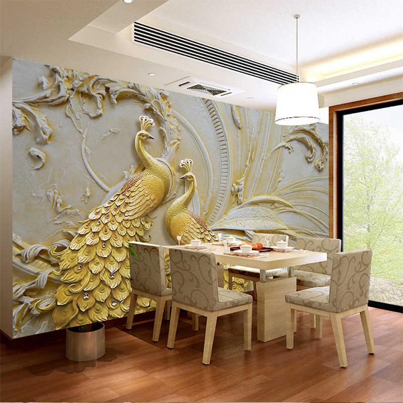 Пользовательские тиснением Золотой Павлин обои для 3D стены рулон гостиной ТВ диван фон стены домашний декор настенное покрытие