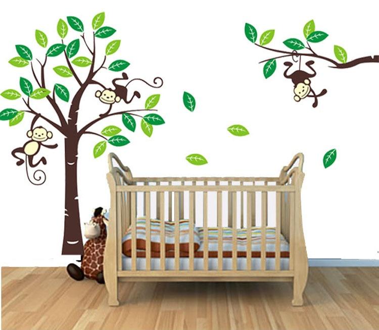 custom personalised name monkey tree wall art stickers kids nursery