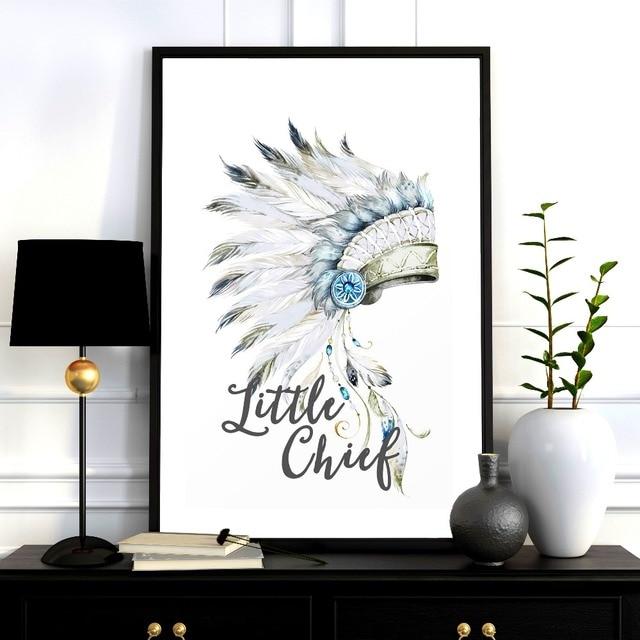 Native Indian teepee vivero cartel moderno pared del arte seda Telas ...