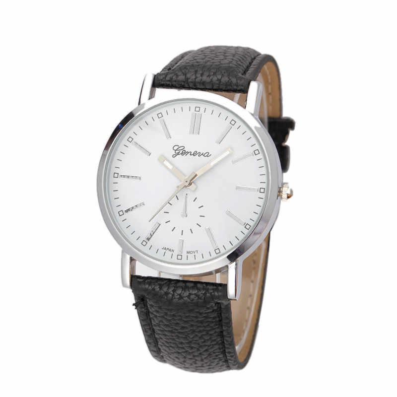 Reloj de cuarzo de cuero de Ginebra reloj de pulsera de moda para mujer reloj de pulsera reloj femenino masculino hora * E