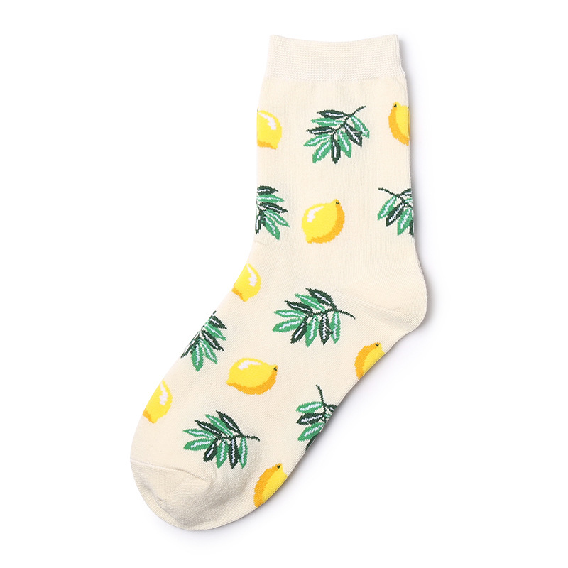 Funny Fruit Short Harajuku Socks Fashion Women Cherry Lemon Pineapple Patterned Socks Female Cotton Art Funny Socks Hipster Sox in Socks from Underwear Sleepwears
