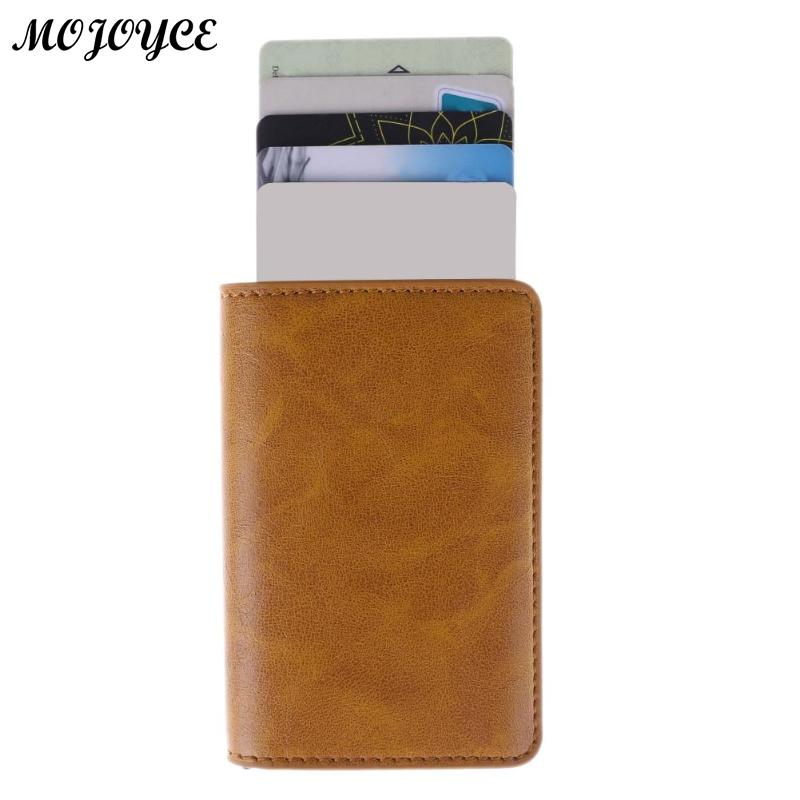 Metal Men Card Holder RFID Aluminium Alloy Credit Card Holder PU Leather Wallet AntiTheft Men Wallets Automatic Pop Up Card Case