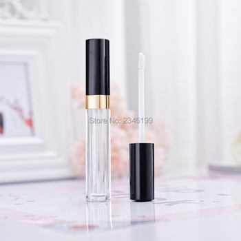 6.5ml Square Lip gloss Tube Black Cap Clear Bottle Empty Lip gloss Container Plastic Lip Gloss Tubes Cosmetic Container 40pcs