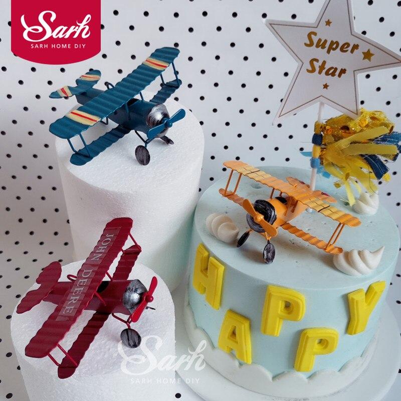 Red Blue Yellow Retro Airplane Cake Decorations Birthday ...