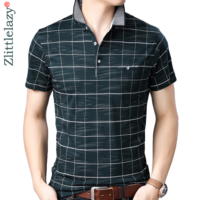 2019 brand casual summer plaid short sleeve   polo   shirt men poloshirt jersey pocket mens   polos   tee shirts dress fashions 32565