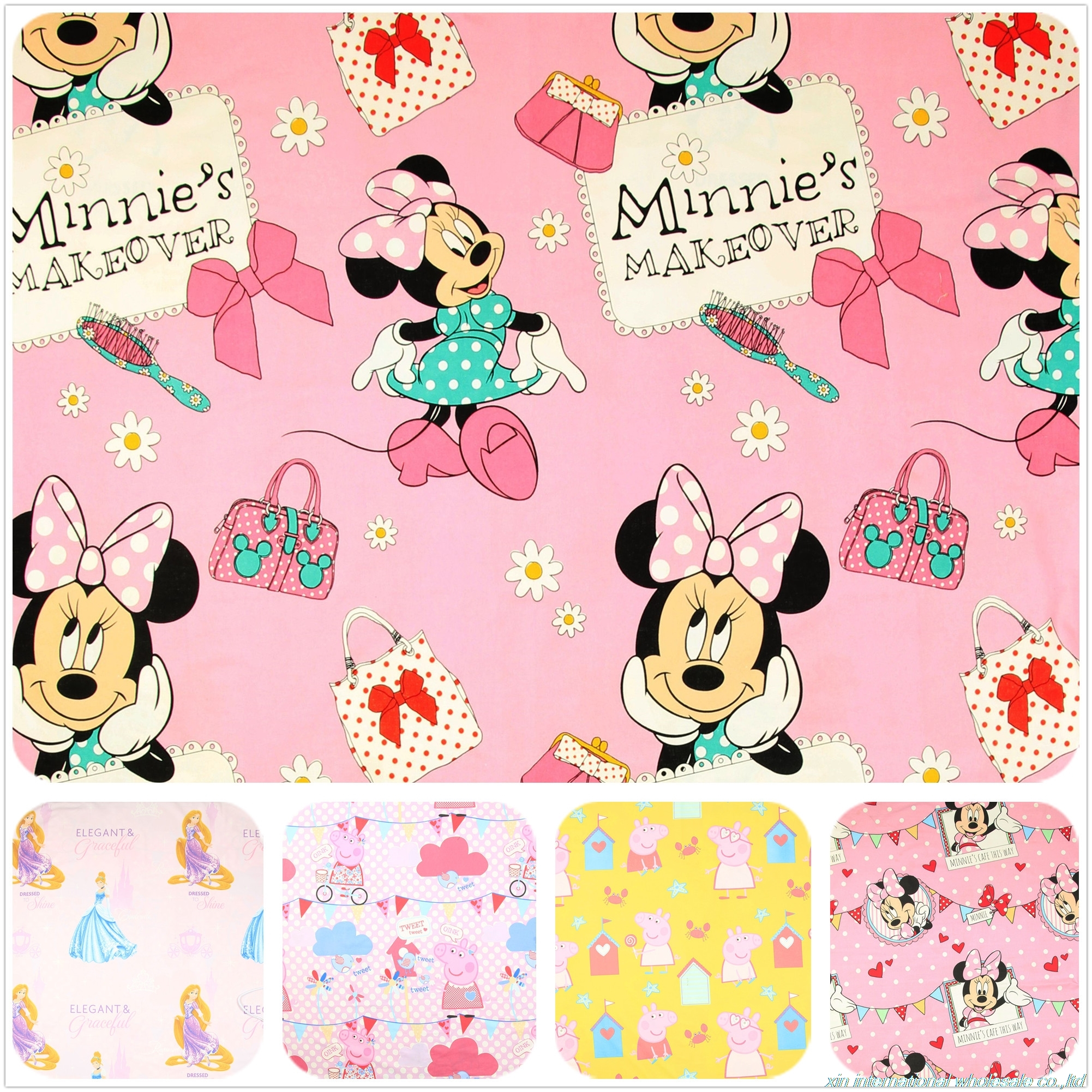tabby cartoon fabric Pulp dyed cotton african fabric Minnie piglet printed with ice snow bazin riche getzner Handmade DIY telas