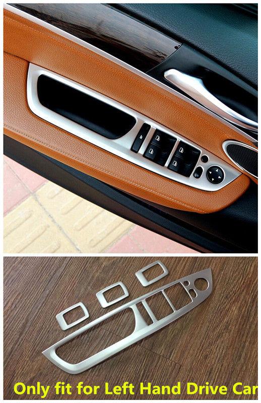 Pour BMW X5 E70 2008 2009 2010 2011 2012 2013 conduite à GAUCHE StainlessInterior Porte Fenêtre Commutateur Accoudoir capots de bordure 4 pièces