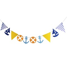 Nautical Themed Marine Style Paper Flags  String Nursery Photo Prop Boy Baby Shower Birthday Party Daily Home Decor