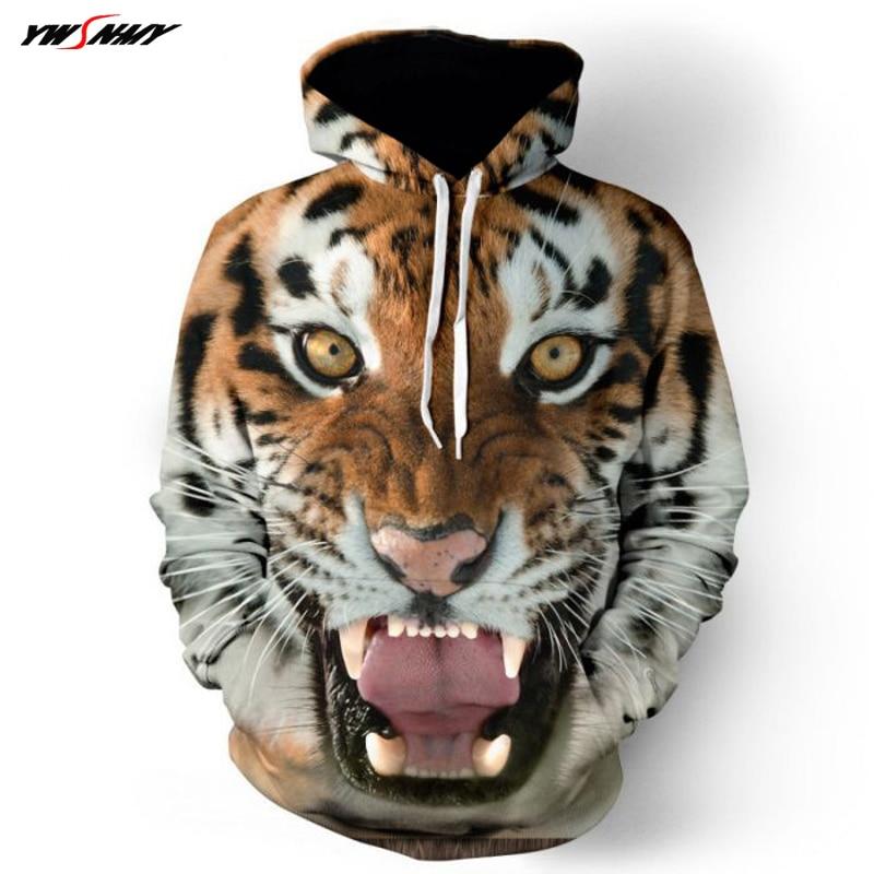 2018 New Fashion Mens Hoodeds Hoodies Animal 3D Tiger Printed Streetwear Hip Hop Mens Sweatshirt Unisex Pullovers Plus Size