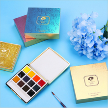 лучшая цена Premium 12 Colors Solid Water Color Paint Set Non-Toxic Pigment Paint Gift Box For Artist Painting Watercolors Art Supplies