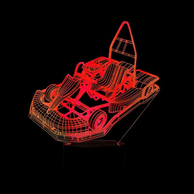 3D LED Kreatif Dekorasi Rumah Lampu Malam Anak-anak Menyentuh Tombol Go-Kart Pemodelan Lampu 7 Warna Perubahan Karting mobil Lampu Meja