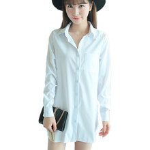 2017 Spring Buttons Office White Long Shirts Dress Women Blouse Cotton Turn-Down Collar Basic Shirts Female Tops Plus Size S-XXL
