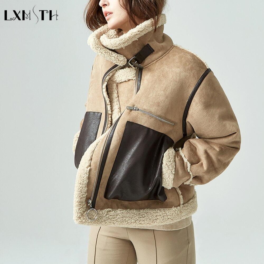 Lxmth 2019 Зимняя Толстая замшевая куртка из овечьей шерсти уличная модная женская шерстяная куртка короткое винтажное пальто на молнии с большими карманами