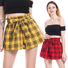 2019 Arrival Bow Tie Waist British Style Plaid Shorts Summer Mid Straight Leg Women Elastic Casual